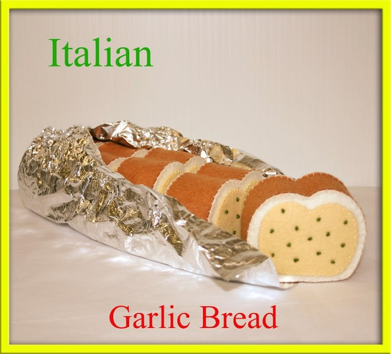 Italian Garlic Bread - Waldorf Inspired Wool Felt Playfood Accessory for Imaginative Play