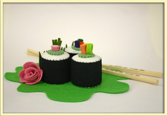 Wool Felt Play Food Sushi Rolls - Waldorf Inspired Accessory for Imaginative Play
