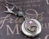 Silver Steampunk Locket Necklace- Enchanted Blush Jewel - Handmade by TheEnchantedLocket