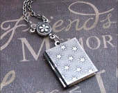 Silver Star Book Locket Necklace- Enchanted Night Sky - Jewelry By TheEnchantedLocket - Wedding Christmas Anniversary Friend Gift - SALE -