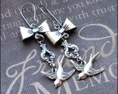 Silver Sparrow Earrings - Enchanted Cinderella's Dressmaker Earrings - Handmade by TheEnchantedLocket