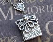 Silver Book Locket Necklace- Enchanted Octopus Garden - Jewelry by TheEnchantedLocket - UNIQUE Best Friend Wife Bride Anniversary Gift