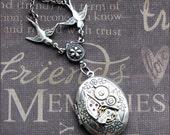 Silver Steampunk Locket Necklace- Enchanted Love Birds In Flight - By TheEnchantedLocket