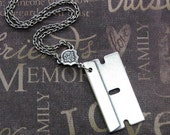 Silver Razor Blade Necklace - Enchanted Razor's Edge - Jewelry by TheEnchantedLocket - COOL Boyfriend Unisex Gift