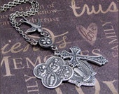 Silver Cross and Medals Necklace - Enchanted Prayers - Handmade by TheEnchantedLocket
