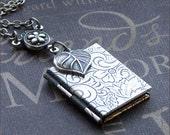Silver Book Locket Necklace - Enchanted Love Garden - Locket Jewelry - Photo Locket - TheEnchantedLocket - Wedding Christmas Bridesmaid Gift