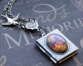 Silver Locket Necklace - Enchanted Fire Opal - By TheEnchantedLocket
