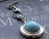 Silver Locket Necklace - Enchanted Robin's Egg - Jewelry by TheEnchantedLocket - ORIGINAL Wife Bride Wedding Anniversary Gift