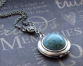 Silver Locket Necklace - Enchanted Robin's Egg - By TheEnchantedLocket