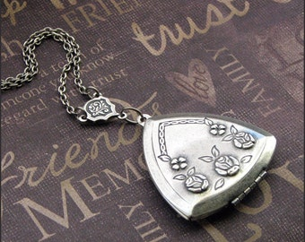 Silver Rose Locket Necklace- Enchanted Love Triangle - Handmade by TheEnchantedLocket