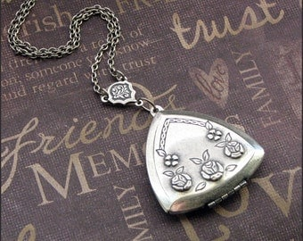 Locket Necklace - Triangle With Roses - Enchanted Love Triangle - Handmade by TheEnchantedLocket