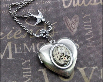 Silver Heart Locket Necklace- Enchanted Love Bird - Jewelry by TheEnchantedLocket - STEAMPUNK Love You Wife Bride Daughter Gift
