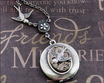 Silver Steampunk Locket Necklace- Enchanted Love Birds - Jewelry by TheEnchantedLocket - COOL Christmas Stocking Stuffer Gift