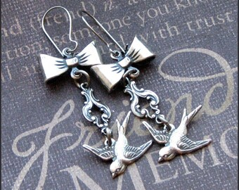 Silver Sparrow Earrings - Enchanted Cinderella's Dressmaker Earrings - Handmade by TheEnchantedLocket