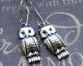 Silver Owl Earrings - Enchanted Woodland Owls - Jewelry by TheEnchantedLocket - PERFECT Wedding Anniversary I Love You Gift