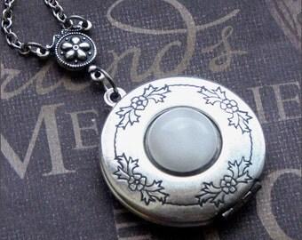 Silver Locket Necklace - Enchanted Moonstone - By TheEnchantedLocket