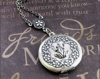 Silver Locket Necklace - Enchanted Frog Prince - Jewelry by TheEnchantedLocket - GORGEOUS Bride Wife Anniversary Wedding Gift