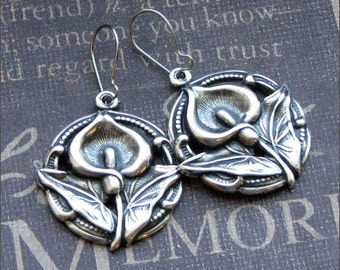Silver Floral Earrings - Enchanted Calla Lilies - Jewelry by TheEnchantedLocket - VICTORIAN Wedding Bride Wife Birthday Gift - SALE -