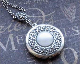 Silver Wreath Locket Necklace- Enchanted Moonstone - Jewelry by TheEnchantedLocket - BEAUTIFUL Wedding Best Friend Wife Gift