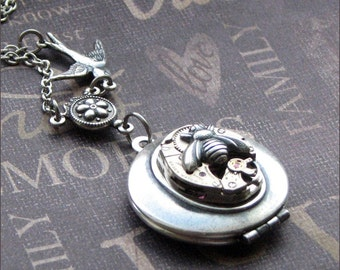 Silver Steampunk Locket Necklace - Enchanted Birds and Bees - By TheEnchantedLocket