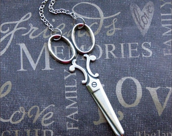 Silver Scissor Pendant Necklace - Enchanted Sheers - Jewelry by TheEnchantedLocket - EDGY Christmas Stocking Stuffer Gift
