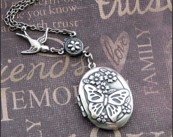 Locket Necklace in Silver - Butterfly Pattern with Flowers - Enchanted Butterfly Garden - Handmade by TheEnchantedLocket