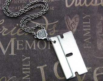 Blade jewelry etsy silver razor blade necklace enchanted razors edge jewelry by theenchantedlocket cool boyfriend unisex altavistaventures Images