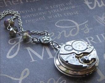 Silver Steampunk Locket Necklace- Enchanted Steampunk Royalty - By TheEnchantedLocket
