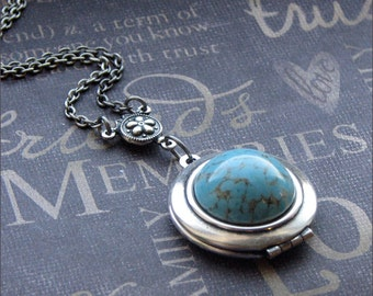 Silver Locket Necklace - Enchanted Robin's Egg - By TheEnchantedLocket