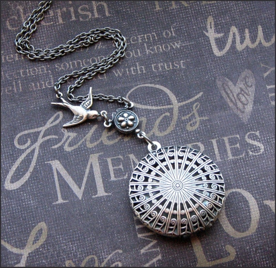 Silver Scent Locket Necklace- Enchanted Lattice - Jewelry by TheEnchantedLocket - UNIQUE Wedding Anniversary Birthday Wife Gift