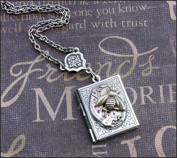 Silver Book Locket Necklace- Enchanted Queen Bee - Jewelry by TheEnchantedLocket - SWEET Anniversary I Love You Gift