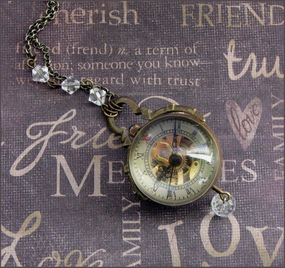 Pocket Watch Orb Necklace - Enchanted Steampunk Royalty  - By TheEnchantedLocket