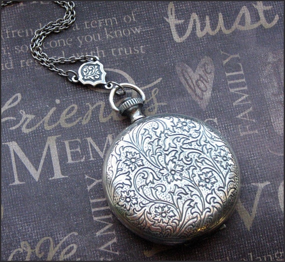 Silver Pocket Watch Locket - Enchanted Keepsake - Jewelry by TheEnchantedlocket - VICTORIAN Wedding Anniversary Bride Gift