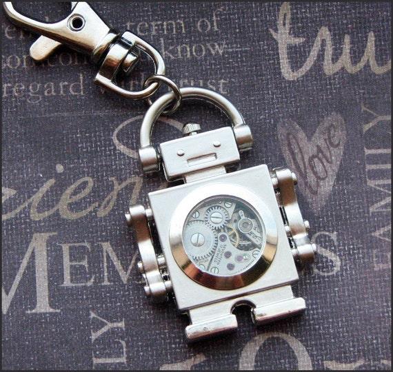 Silver Robot Keychain - Enchanted Steampunk Bot - Handmade by TheEnchantedLocket