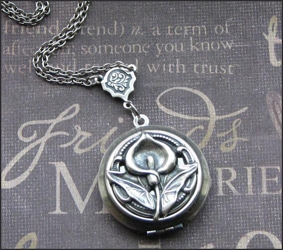 Silver Calla Lily Locket Necklace- Enchanted Calla Lily - Jewelry by TheEnchantedLocket - ROMANTIC Bride Wedding Anniversary Gift