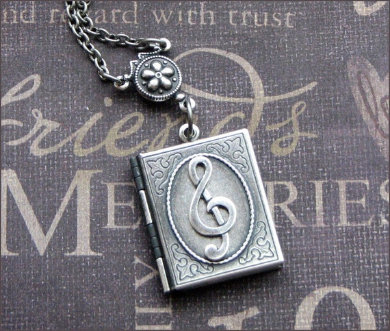 Locket Necklace in Silver -Treble Clef - Music Lover - Enchanted Book of Song Necklace - By TheEnchantedLocket