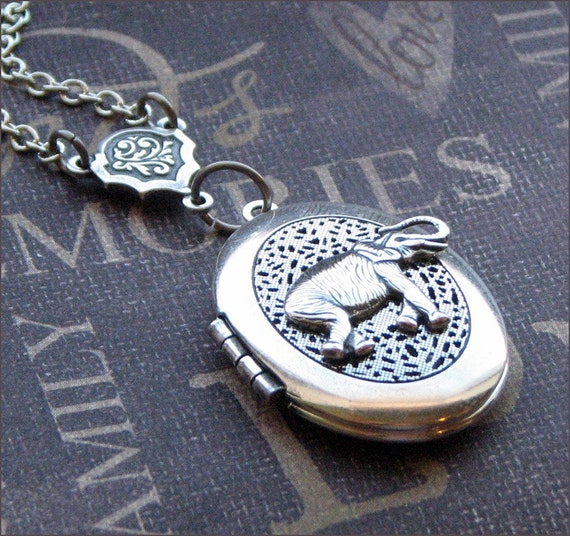 Silver Scent Locket Necklace- Enchanted Lucky Elephant - By TheEnchantedLocket