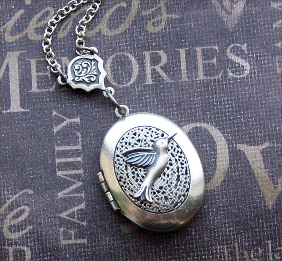 Silver Scent Locket Necklace - Enchanted Hummingbird - Jewelry by TheEnchantedLocket - PERFECT Wife Anniversary Bride Teacher Gift