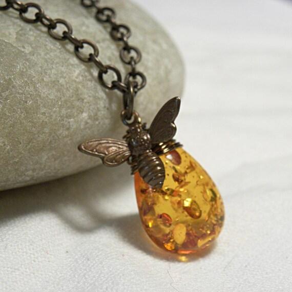 Bee Jewelry, Antique Bee Pendant, Honey Bee Necklace