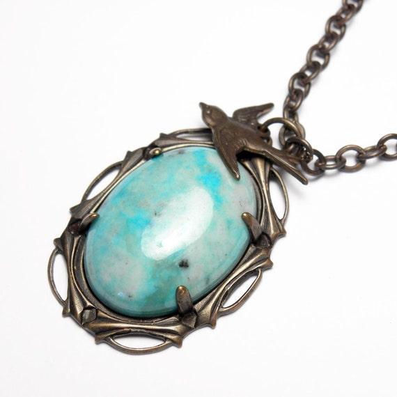 Vintaj Brass Open Bezel Turquoise Gemstone Pendant Necklace