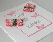 18th birthday card, quilled, handmade, can be made for any birthday