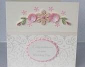 Wedding congratulations card, paper quilling