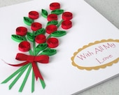 Quilled anniversary card, can be personalized