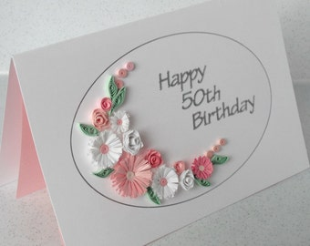 50th birthday card, paper quilling, any age