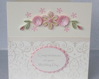 Wedding congratulations card, paper quilling