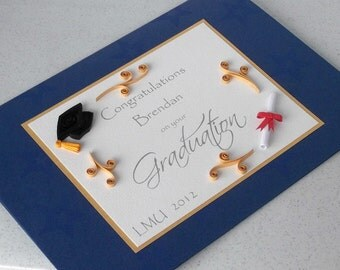 Handmade graduation card, quilled, personalized