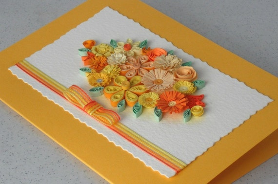 Quilled handmade card, paper quilling flowers, for any occasion