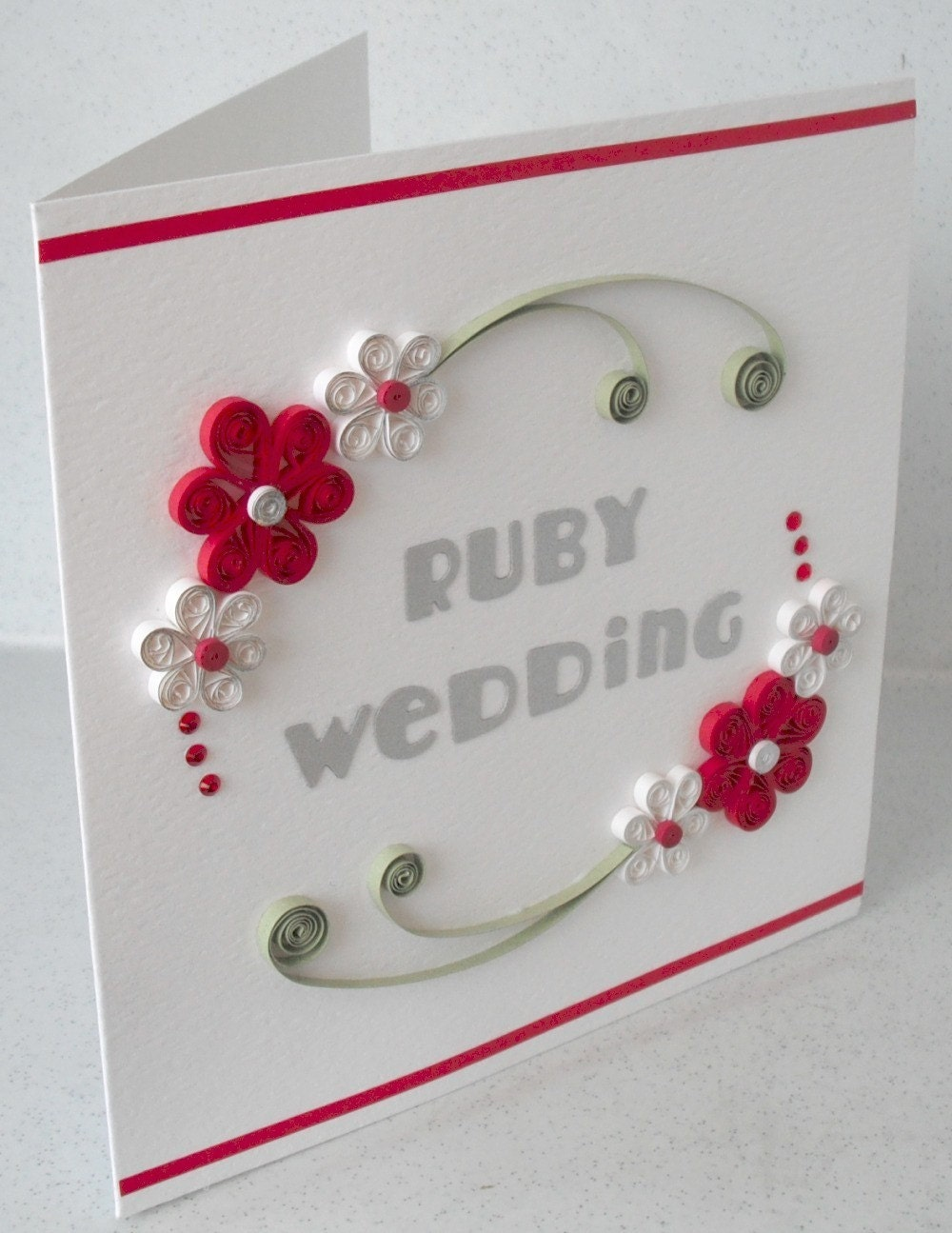 40th anniversary card ruby wedding quilled quilling