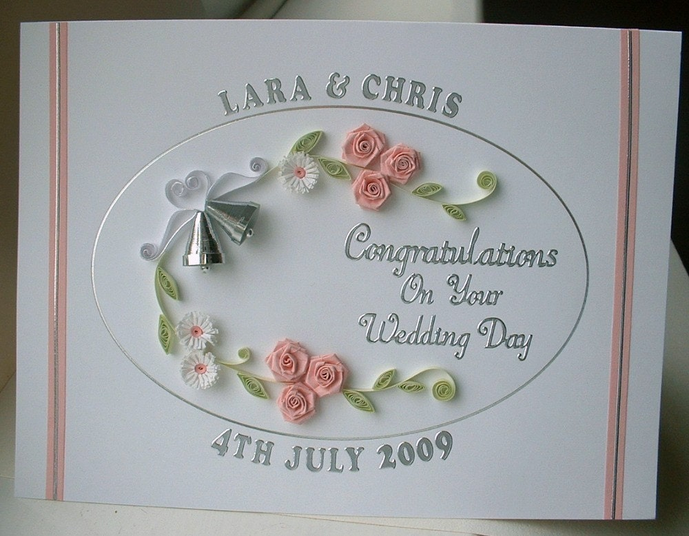 Quilled Wedding Card Congratulations Handmade Greeting