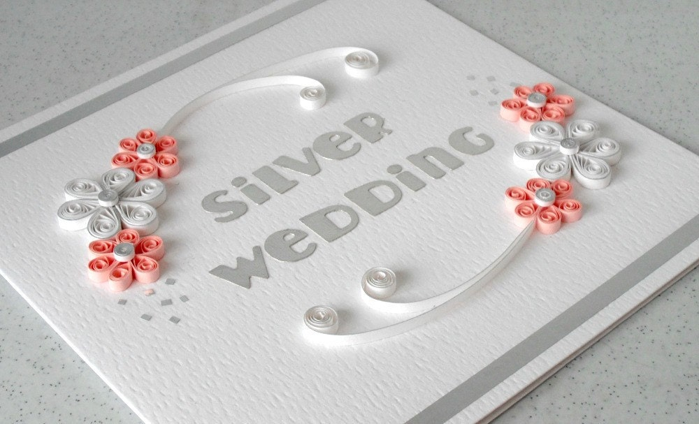 Handmade 25th anniversary card silver wedding